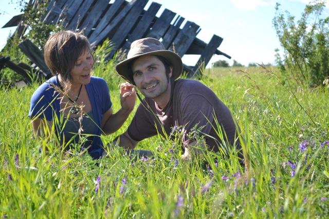 Sara and Henry near her great-grandparents' homestead, rural Alberta, 2012