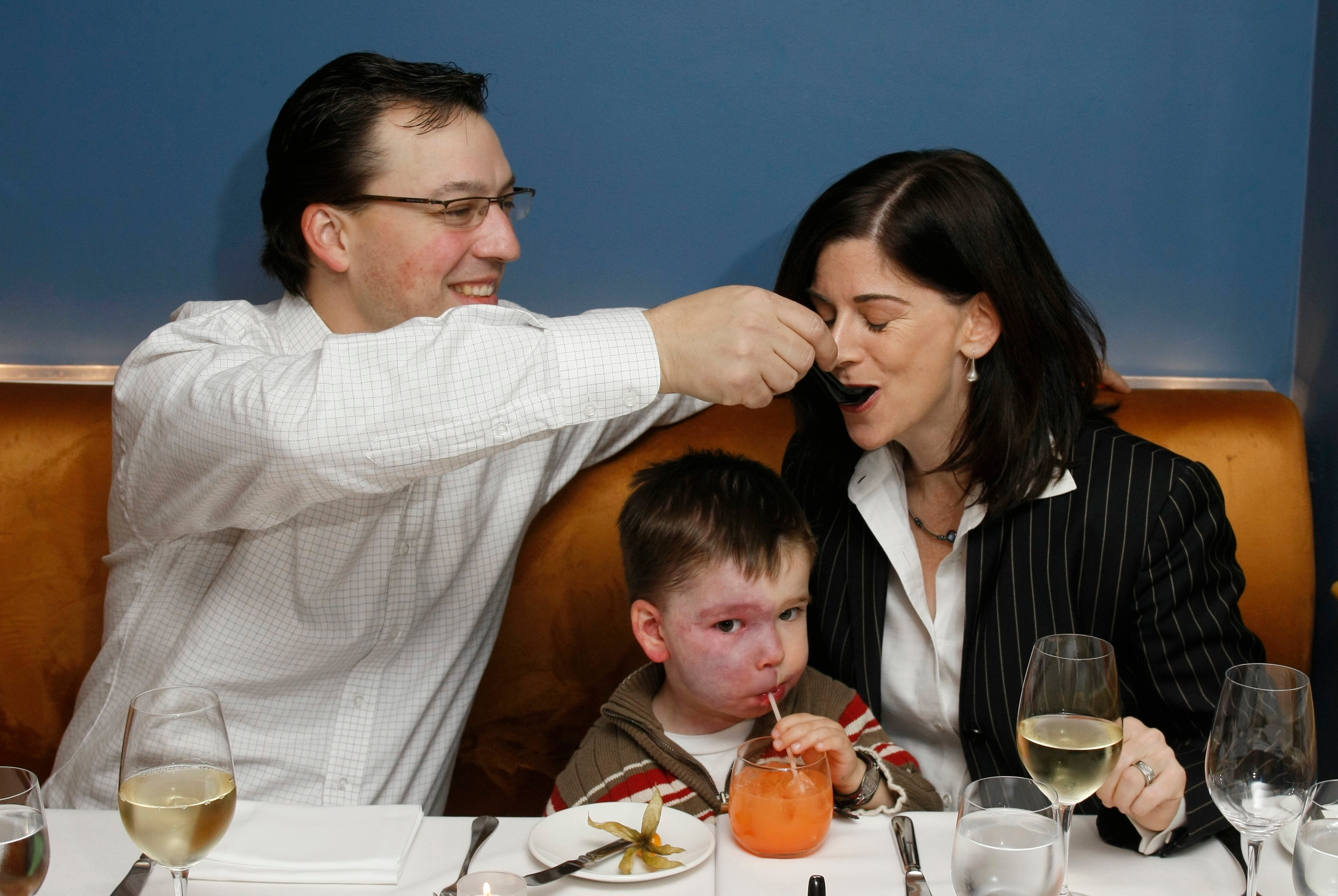 Steve, his wife Maureen and their son Seanan enjoying a meal in the Beckta dining room