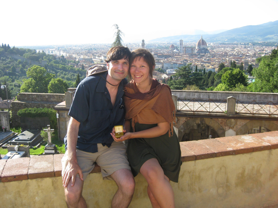 Henry and Sara, moments after their engagement, Florence, Italy, 2012