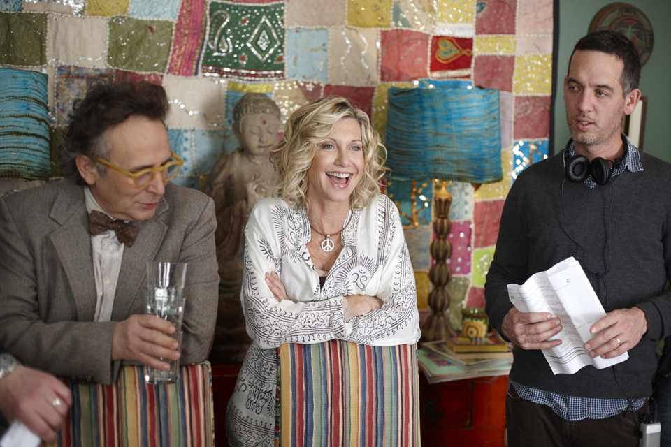 Olivia Newton-John (centre) and Michael (far right) on the set of 'Score: A Hockey Musical'