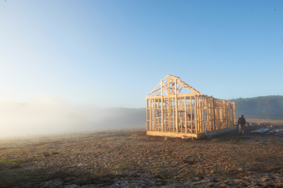 The house under construction in Still Mine
