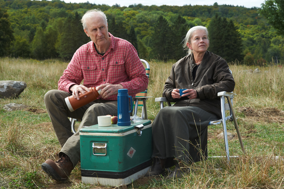 James Cromwell and Genevieve Bujold on the set of 'Still Mine'