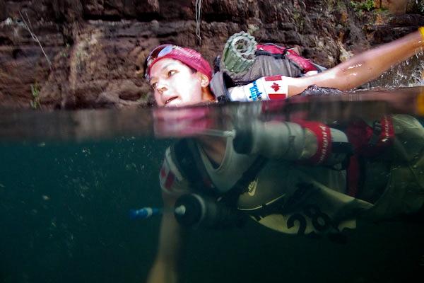 Swimming during part of RacingThePlanet: Australia, 2010. Photo courtesy of RacingThePlanet.