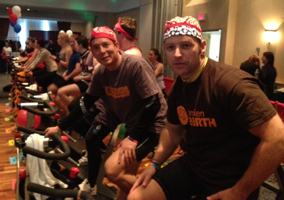 Andrew (right) with Dr. Arthur Rideout (centre) at a Spin 4 Kids fundraiser, St. John's, N.L.
