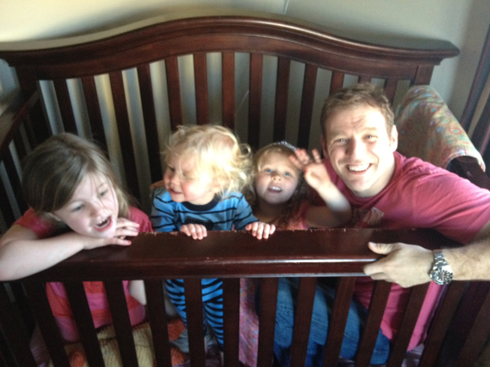 Andrew, his children, and their sweet crib on The Rock