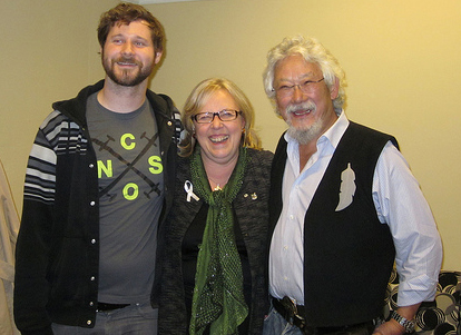With David Suzuki (right) and musician Dan Mangan, November 2012