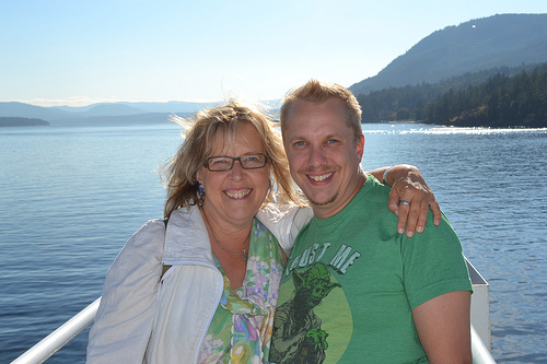 With one of the Saanich-Gulf Island Greens, Vancouver Island, B.C., August 2012