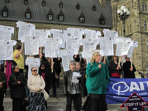At the rally for a National Action Plan to End Violence Against Women and Girls in Canada, Ottawa, Ont., October 2012