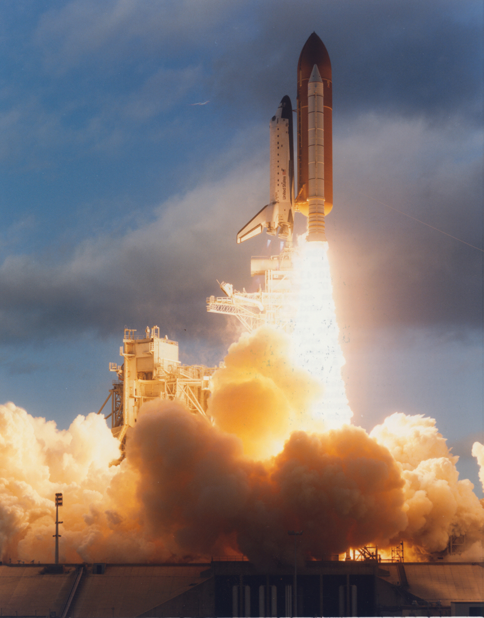 Launch of Space Shuttle Atlantis, with Chris aboard for his first trip to space, November 1995. Photo: NASA