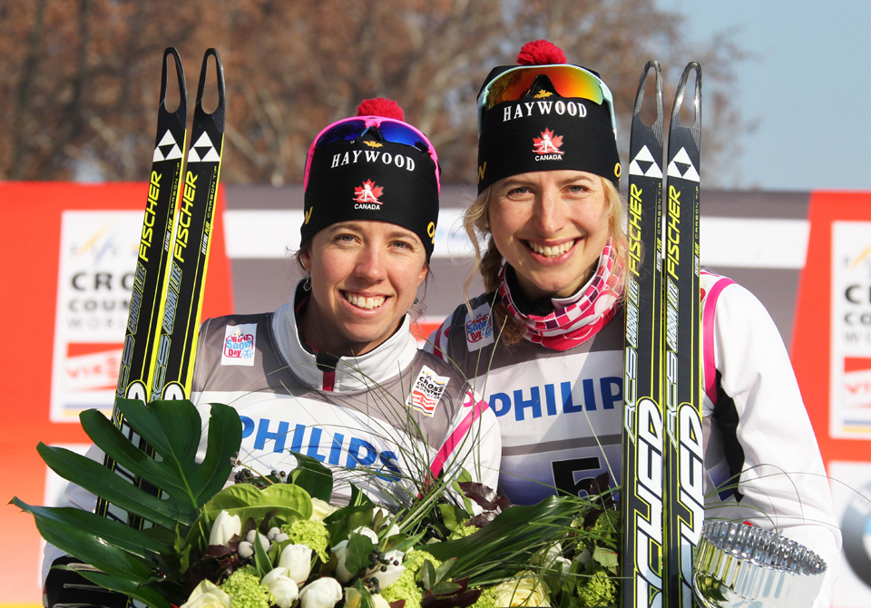 From left: Perianne and teammate Chandra Crawford after their medal-winning team sprint at the World Cup, Milan, Italy, 2012