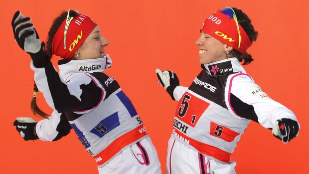 From left: Dasha and Perianne after their Sochi victory, 2013