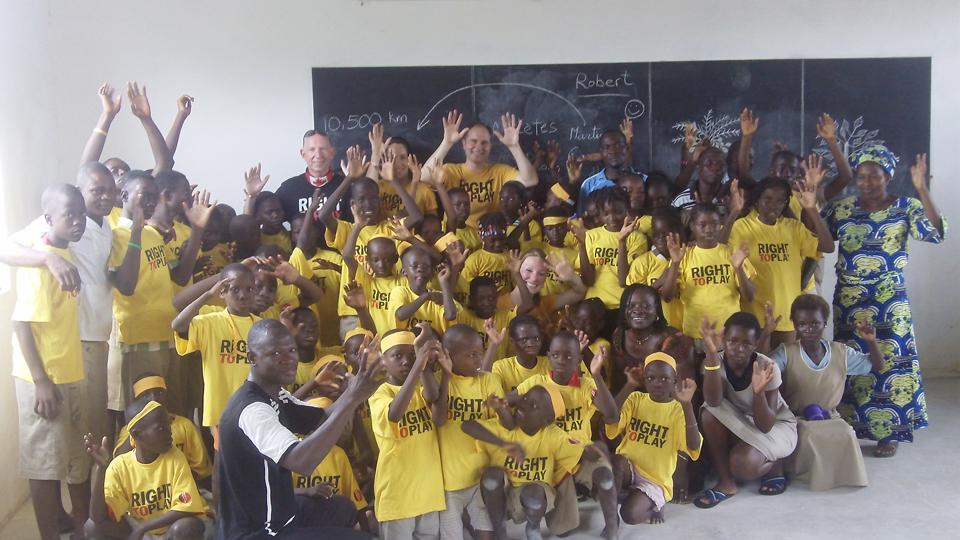 Visiting school children in Benin, Africa, 2011