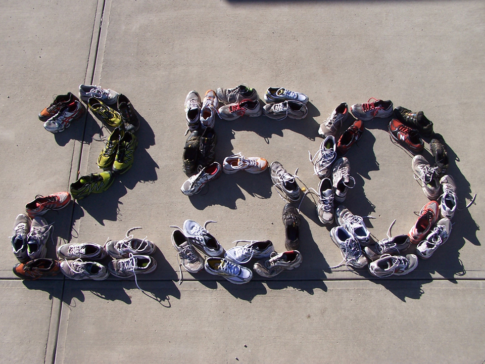 The many shoes Martin used while running the Marathon Quest 250
