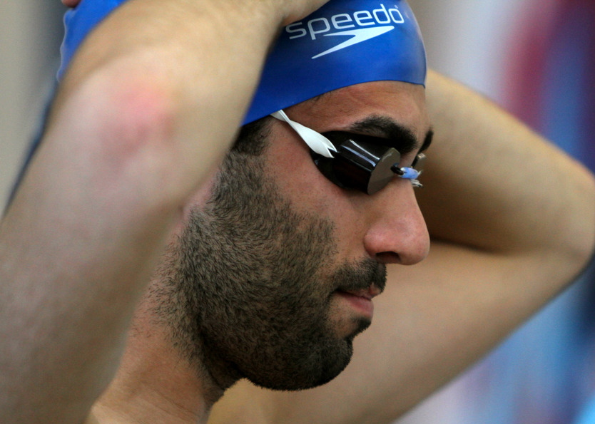 Yiorgos at a swim meet, Calgary, Alta., 2012