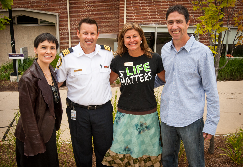 Gathering for World Suicide Prevention Day at Wilfred Laurier University, Waterloo, Ont., 2014. From left: Susan Aglukark; Waterloo Fire Service Deputy Chief Jamie Zimmerman; Tana Nash, Executive Director of the Waterloo Region Suicide Prevention Council and President of the Ontario Association for Suicide Prevention; Scott