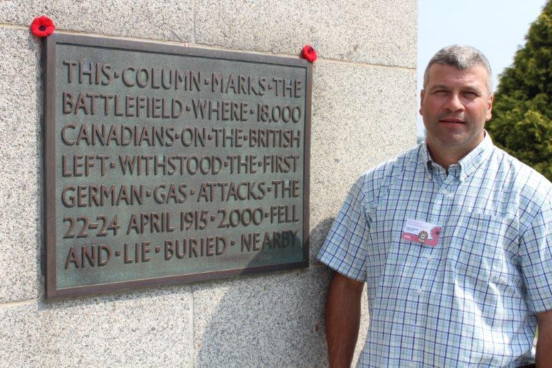 At the St. Julian memorial at Vancouver Corner, Belgium, July 2013