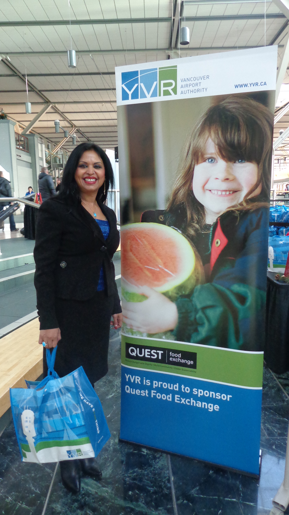 At the 2013 YVR Quest Food Exchange hamper drive