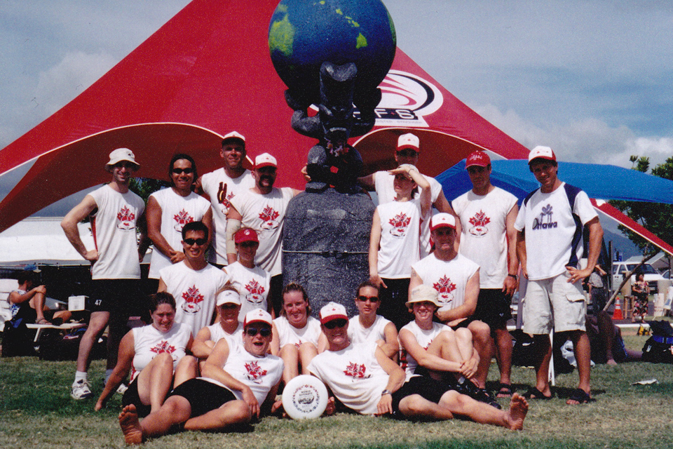 Fabulous Flying Flamingoes at WUCC in Hawaii, August 2002, with Gavin left of the statue