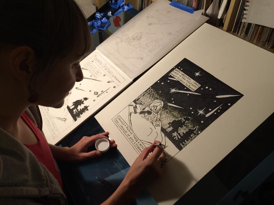 "Illustrating ""In-Between Days,"" Photo: Malu Wilkinson"