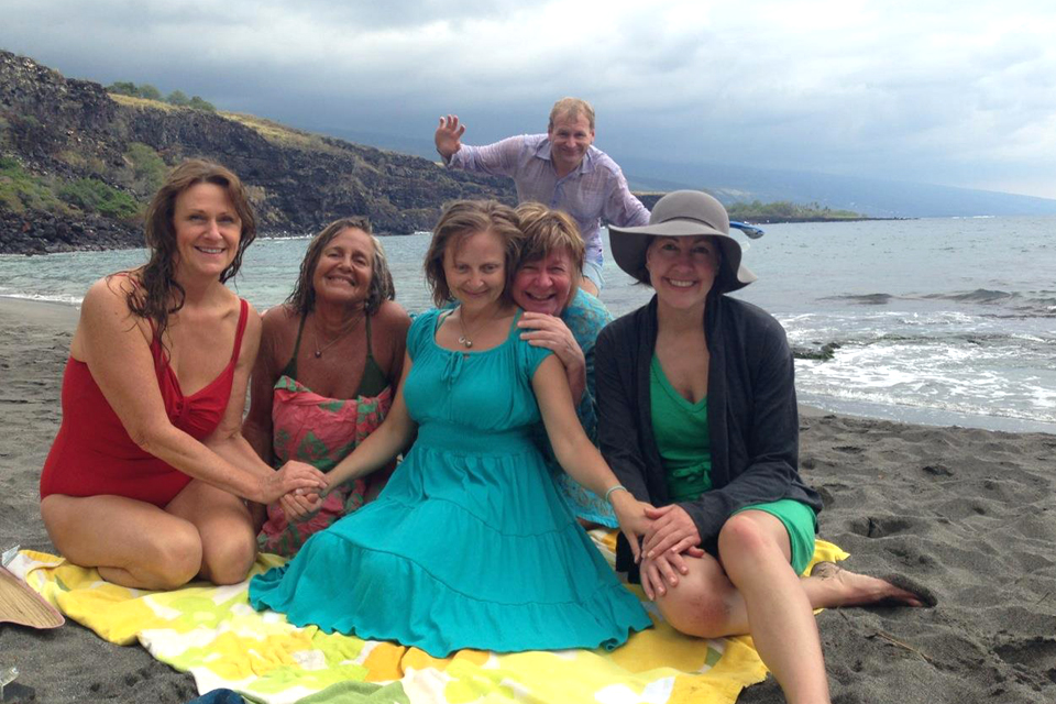 On the Big Island of Hawaii: Teva (centre) with Shelagh (second from right) and their families