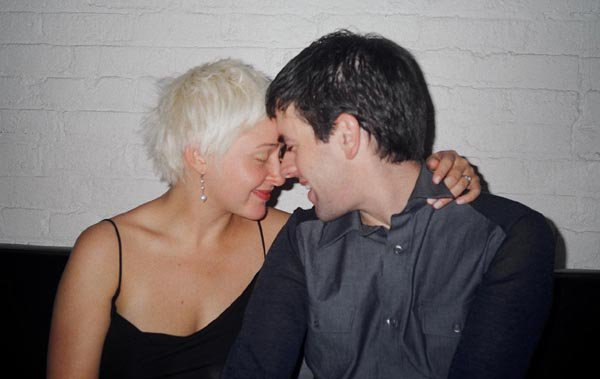 Teva and David at dinner just after eloping, Toronto, Ont., 2002