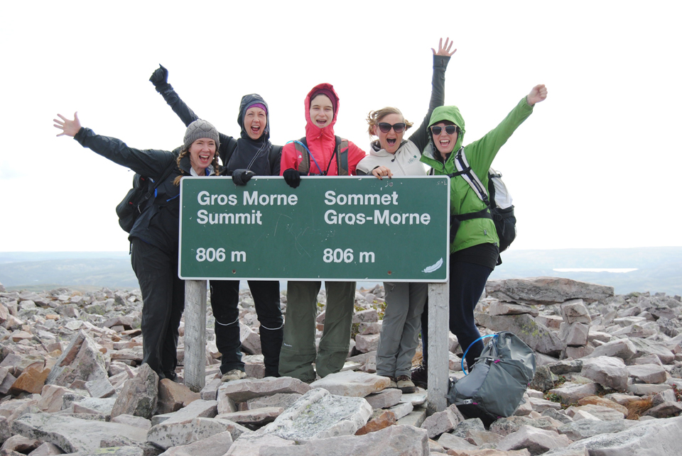 Teva (second from right) atop the mountain in Gros Morne National Park with the Young Adult Cancer Canada group, September 2014
