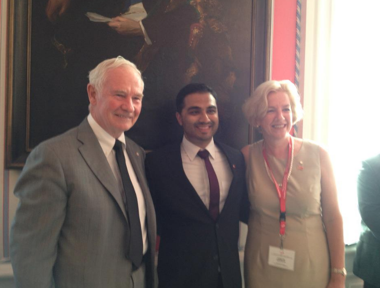 From left: Governor General David Johnston, Rohit, Annette Verschuren (Chancellor of Cape Breton University) at the Governor General's Canadian Leadership Conference, Rideau Hall, Ottawa, Ont., 2012